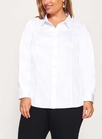 Long Sleeve Button Down Cotton Shirt, , hi-res