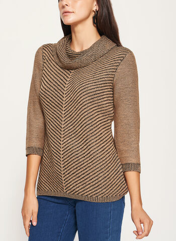 3/4 Sleeve Cowl Neck Knit Sweater , , hi-res