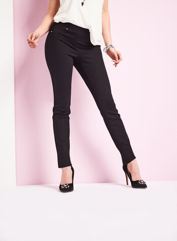 Ponte Pull On Straight Leg Pants , Black, hi-res