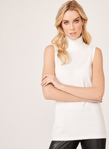 Sleeveless Turtleneck Sweater, Off White, hi-res