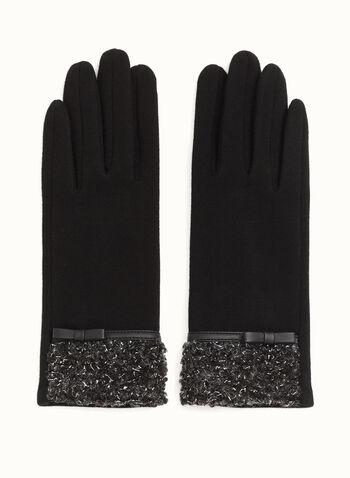 Leather Trim Bouclé Gloves, , hi-res