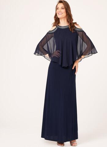 Embellished Cold Shoulder Poncho Gown, , hi-res