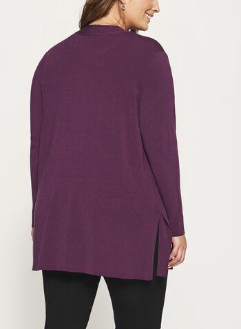 Open Front Oversize Knit Cardigan, Purple, hi-res