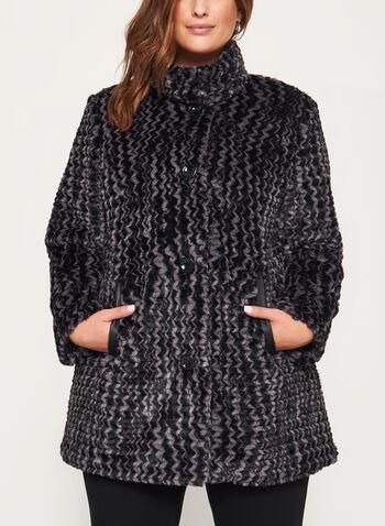 Novelti - Chevron Faux Fur Coat, , hi-res
