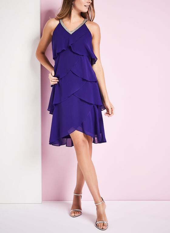 Tiered Beaded Neck Dress, Blue, hi-res