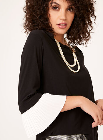 Pleated Bell Sleeve Blouse , , hi-res