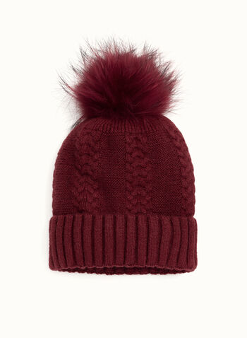 Cable Knit PomPom Hat, Red, hi-res