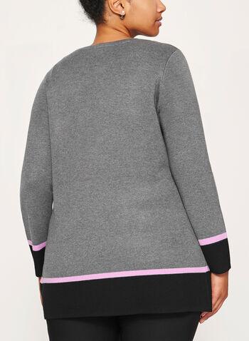 Contrast Knit Cardigan , , hi-res