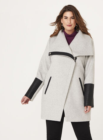 Marcona - Faux Leather Trim Wool Blend Coat, , hi-res