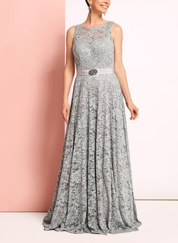 Sequin Lace Fit & Flare Gown, , hi-res