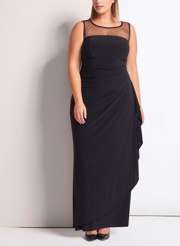 Mesh Yoke Jersey Gown with Shawl, , hi-res