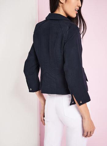Vex Faux Linen Grommet Detail Jacket, , hi-res