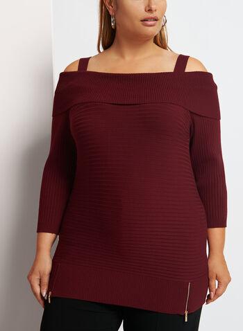 Cold Shoulder Marilyn Neck Knit Sweater, , hi-res