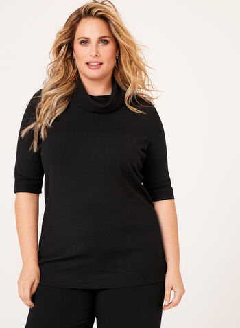 Short Sleeve Cowl Neck Sweater, , hi-res