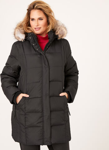 Novelti - Removable Faux Fur Quilted Coat, , hi-res