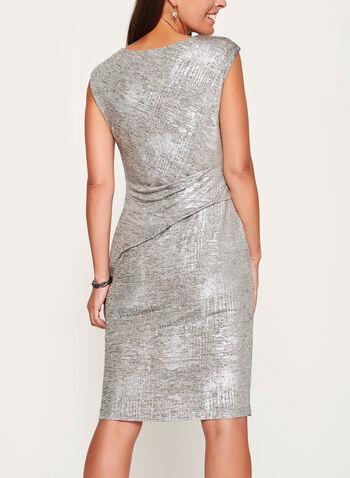 Metallic Draped Sheath Dress , , hi-res