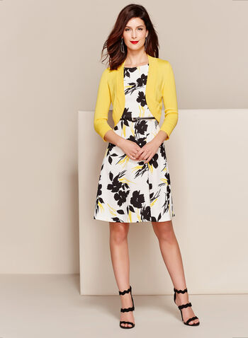 Floral Print Fit & Flare Dress with Bolero, , hi-res