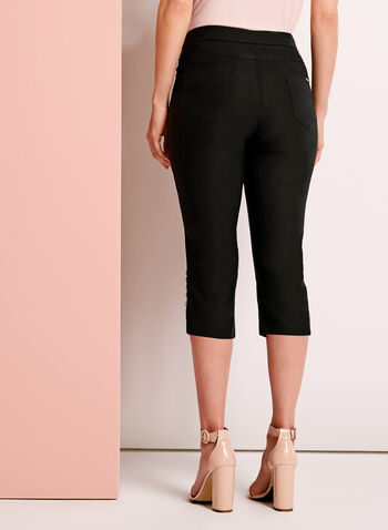Simon Chang - Ruched & Rhinestone Trim Capris, Black, hi-res
