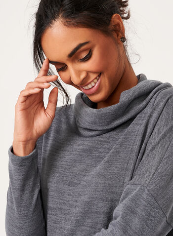Faux Wrap Cowl Neck Sweater, Grey, hi-res