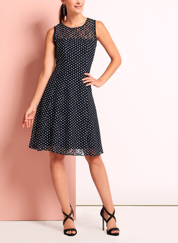 Dot Print Lace Fit & Flare Dress, , hi-res