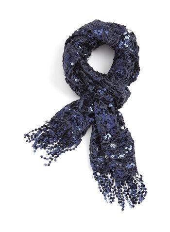 Sequin Crochet Pashmina Scarf, , hi-res