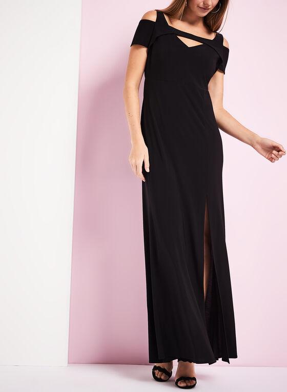 Jersey Cold Shoulder Gown , Black, hi-res