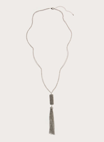 Pave Pendant & Tassel Necklace , , hi-res