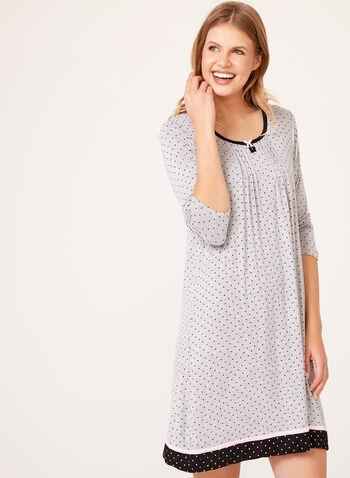 René Rofé - Dot Print 3/4 Sleeve Nightgown, , hi-res