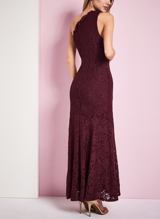 One Shoulder Glitter Lace Gown, Red, hi-res