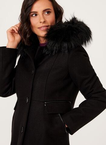 Manteau aspect laine avec capuchon en fausse fourrure amovible, , hi-res