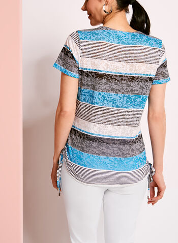 Side Tie Stripe Print T-Shirt, , hi-res