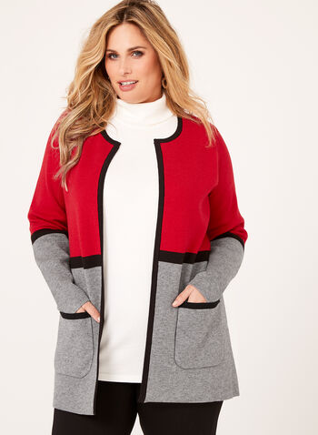 Contrast Double Knit Cardigan, , hi-res