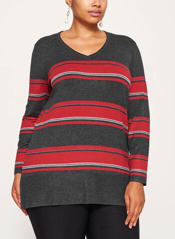 Stripe Print Scoop Neck Sweater, , hi-res