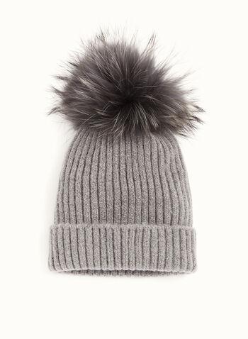 Fur Pompom Knit Hat, , hi-res