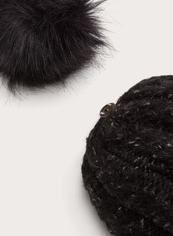 Cable Knit Pompom Hat, Black, hi-res