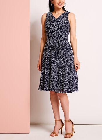 Ditsy Print Drape Front Fit & Flare Dress, , hi-res