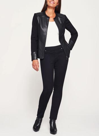 Faux Leather Trim Ponte Jacket, , hi-res