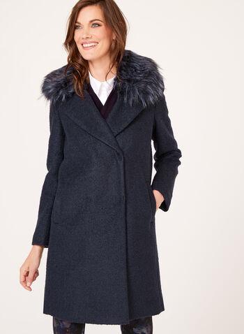 Novelti - Manteau en laine avec col similifourrure amovible, , hi-res