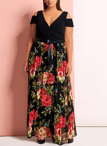 Floral Chiffon Cold Shoulder Dress, , hi-res