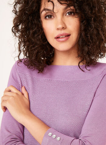 3/4 Sleeve Lurex Knit Sweater, Purple, hi-res