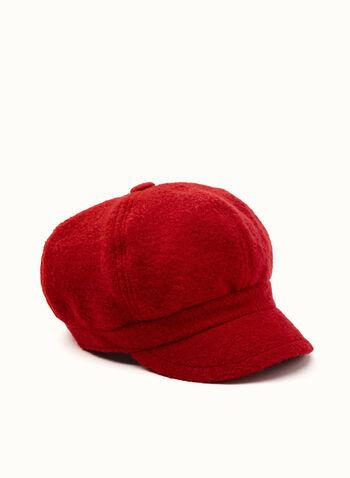 Wool & Fleece Newsboy Hat, Red, hi-res