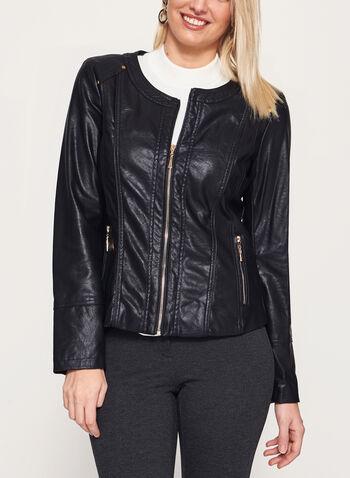 Ness - Faux Leather Zipper Trim Jacket, , hi-res