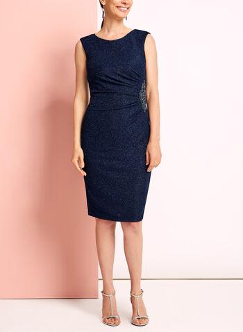 Glitter Knit Beaded Appliqué Dress, , hi-res
