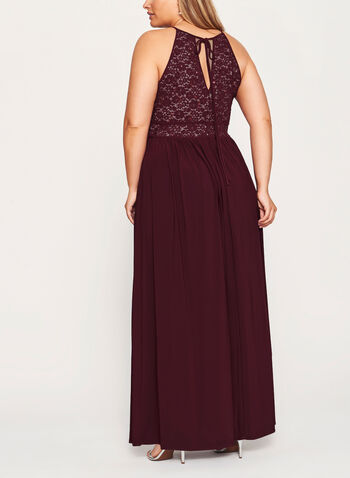 Glitter Lace and Sequin Halter Dress, , hi-res