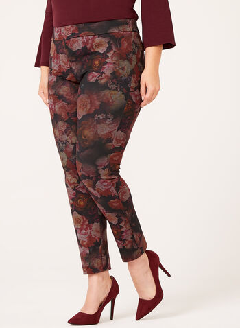 Slim Leg Floral Print Pull-On Pants, , hi-res