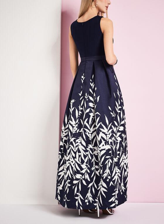 Fern Print Evening Gown, Blue, hi-res