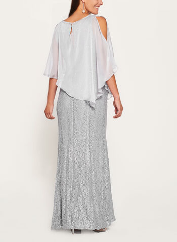 Sequin Lace Mermaid Dress with Chiffon Poncho, , hi-res