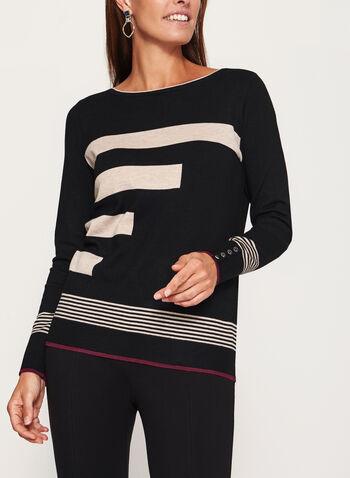Pull en tricot à rayures et détails contrastants, , hi-res