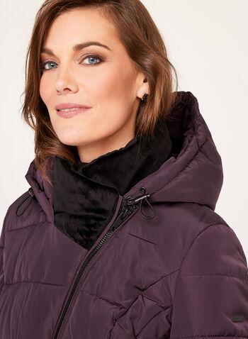 Novelti - Velvet Collar Faux Down Coat, , hi-res