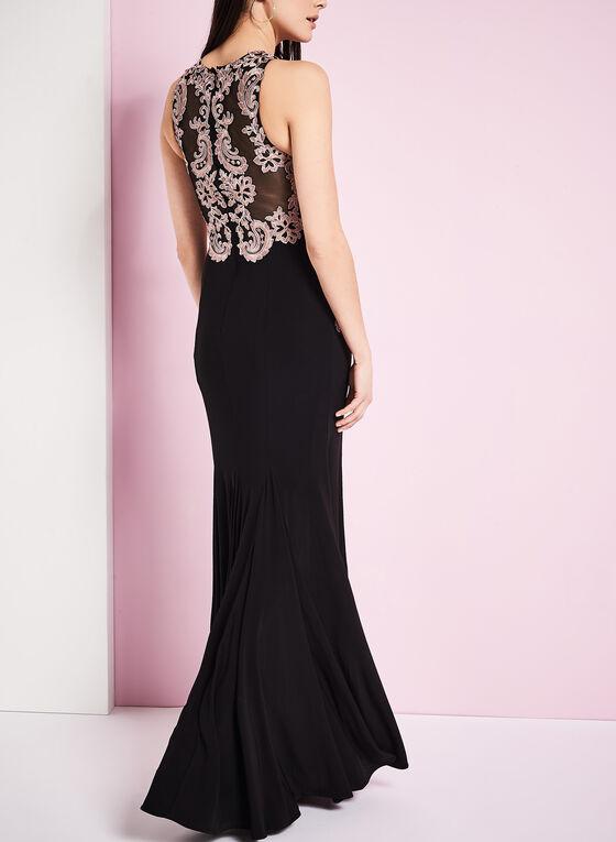 Floral Appliqué Evening Gown, Black, hi-res